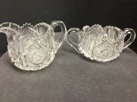 American Brilliant Period hand Cut Glass creamer and sugar bowls - $79.13