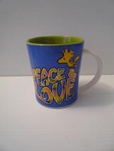 Vintage Snoopy Peace & Love Big Coffee Mug Tea Cup Ceramic White - $9.90
