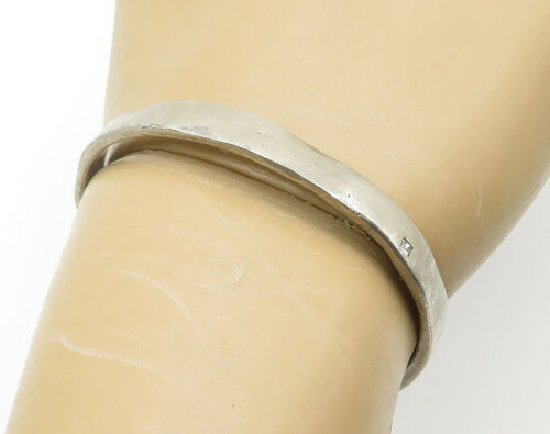 925 Sterling Silver - Vintage .10 Carat Genuine Diamond Cuff Bracelet - B6175