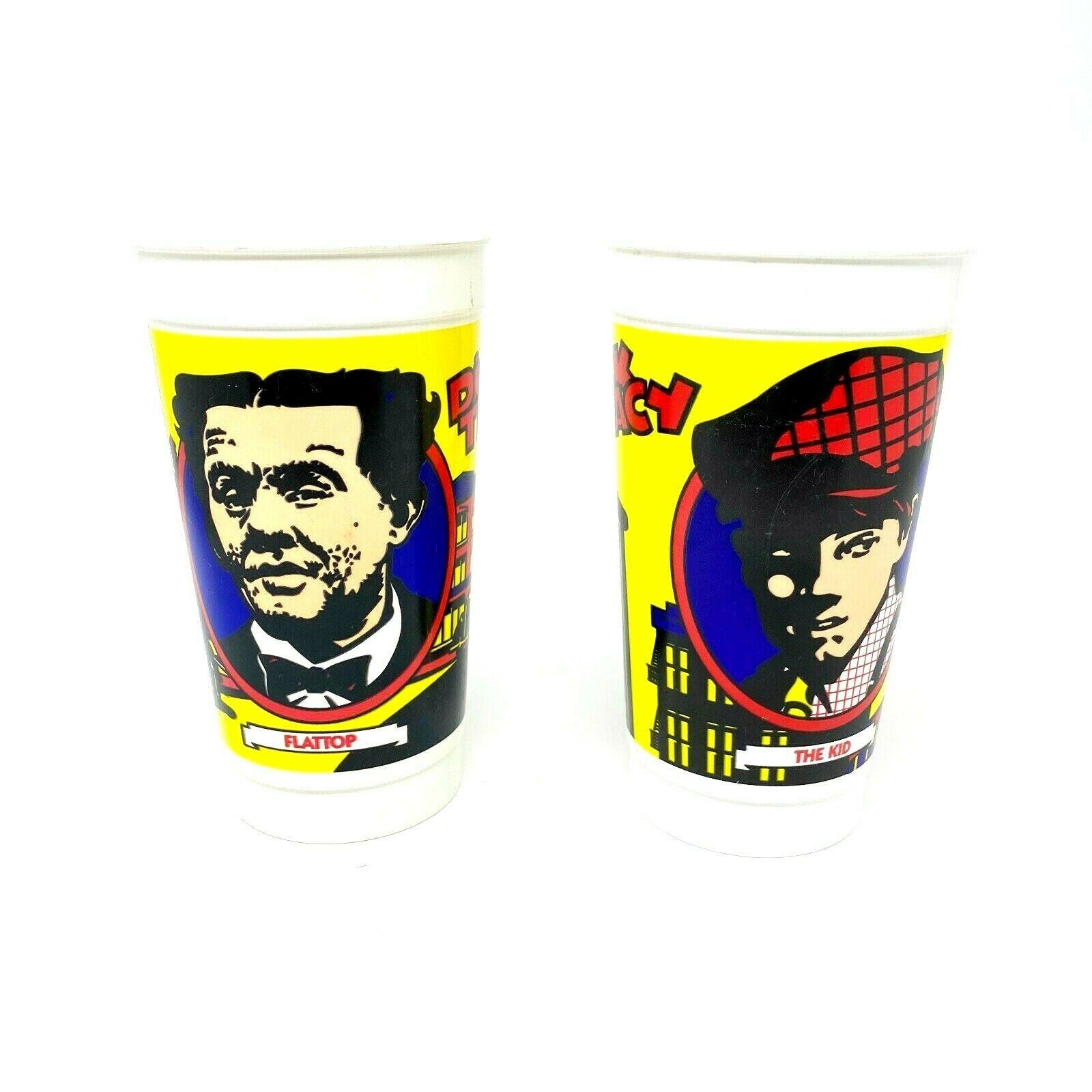 McDonalds Dick Tracy Flat Top The Kid Bundle Vintage1990 Set of 2 Plastic Cups - $19.77
