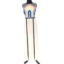 C Luce Embroidered Rainbow Sleeveless Maxi Dress Size Small 2 Slits LD9612 - $40.00