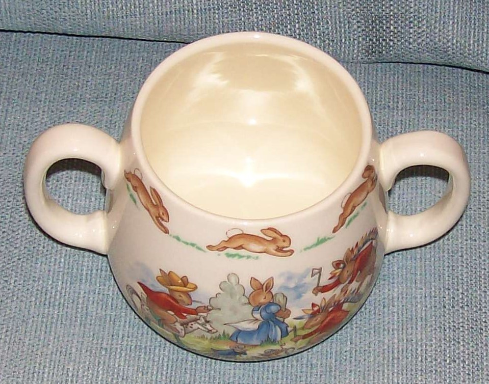 Royal Doulton Bunnykins -2 Handled Child Cup - Cowboys and Indians -VGUC image 2