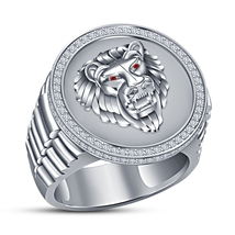 Men's Round Cut Sim.Diamond Engagement Pinky Lion Ring White Gold Fn 925 Silver - $181.99
