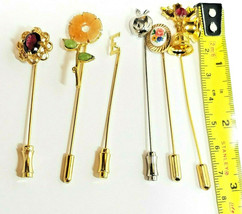 Lot of 6 Assorted Vintage Womens Lapel Pins, 5 Gold Tone, 1 Silver Tone image 2