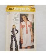 Simplicity 6499 Vintage 1974 Misses Short Dress Top Pants Size 12 Uncut ... - $9.99