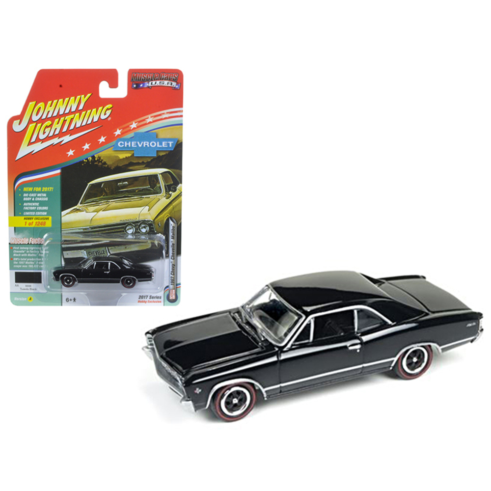 1967 Chevrolet Chevelle Gloss Black Muscle Cars USA 1/64 Diecast Model Car by Jo