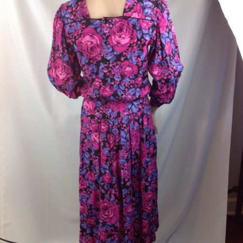80s Vtg Lanz Dress Pink Floral Romantic Modest Tea Church USA 8