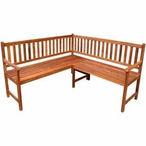 vidaXL Acacia Wood Garden Corner Bench Oil Finished Outdoor Park Deck Porch - $237.99