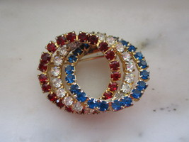 Vintage Red, White & Blue Rhinestone Circles Pin or Brooch - $10.00
