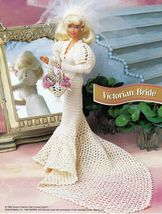 "4X Barbie 11-1/2"" Doll Victorian Bride Wedding Gown Cake Veil Crochet Pattern image 3"