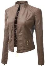 New Stylish Trendy fashion Women's Slim Motorcycle Leather Jacket-LD-49 - $130.00+
