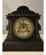 "1882 ANTIQUE CAST IRON ""ANSONIA"" MANTLE CLOCK / KEY  WORKS! - $792.00"