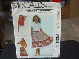 McCall's 7424 Misses Skirts Pattern - Size 10 Waist 25 - $6.72