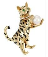 Cartier Gold Enamel Cultured Pearl Diamond and Emerald Cat Tiger Clip Br... - $26,000.99