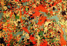 Jackson Pollock Oil Painting on Canvas abstract art home decor red green... - $29.69