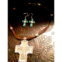 Vintage Cross Necklace and Earring Set - $15.84