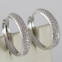 White Gold Earrings 750 18k circle, diameter 2 CM, Triple Row Zirconia, 3 MM image 1
