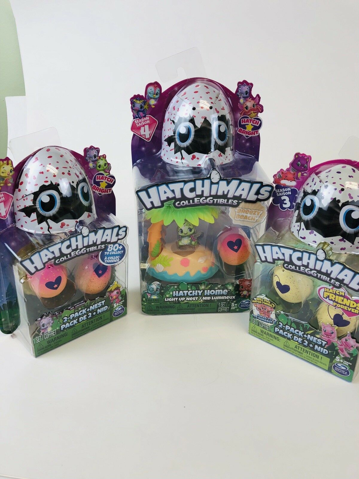 NEW HATCHIMALS COLLEGGTIBLES LOT -   2 - 2 Packs With Nest - 1 Hatchy Home