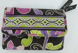 Vera Bradley Wallet Purple Punch Retired Pattern Tri Fold Zip Coin Pouch ** - $15.48