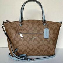 New Coach 79998 Prairie Satchel Coated Canvas Leather handbag Khaki / Pa... - $124.00