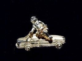 Vintage Brooch Pin Girl On Car Costume Fashion Jewelry - $9.66