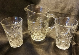 Vintage Anchor Hocking Prescut Clear Juice for Two Set (3 pieces), circa... - $18.00