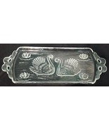 serving platter 13''x6'' etched crystal Swan couple and water lilies - $13.09
