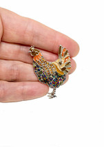"1.5"" Tall Enameled Rooster Brooch Pin, Shades of Brown & Fake Topaz Rhin... - $11.40"