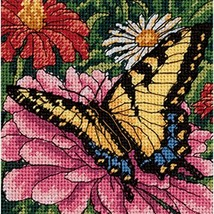 Dimensions Needlepoint Kit, Butterfly on Zinnia Needlepoint, 5'' W x 5'' H - $11.60
