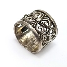 """Signed NF .925 Sterling Silver Filigree Design 5/8"""" Wide Band Ring Ladie... - $14.82"""