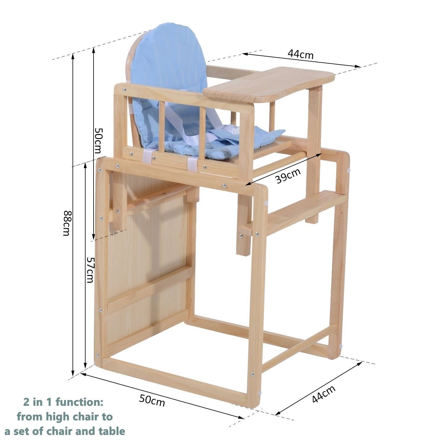 Fine 2 In 1 Baby Wooden Feeding High Chair And 50 Similar Items Andrewgaddart Wooden Chair Designs For Living Room Andrewgaddartcom