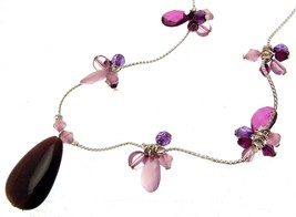 Beaded Necklaces Statement Necklaces For Women Purple Bead Necklaces Cod... - $16.32