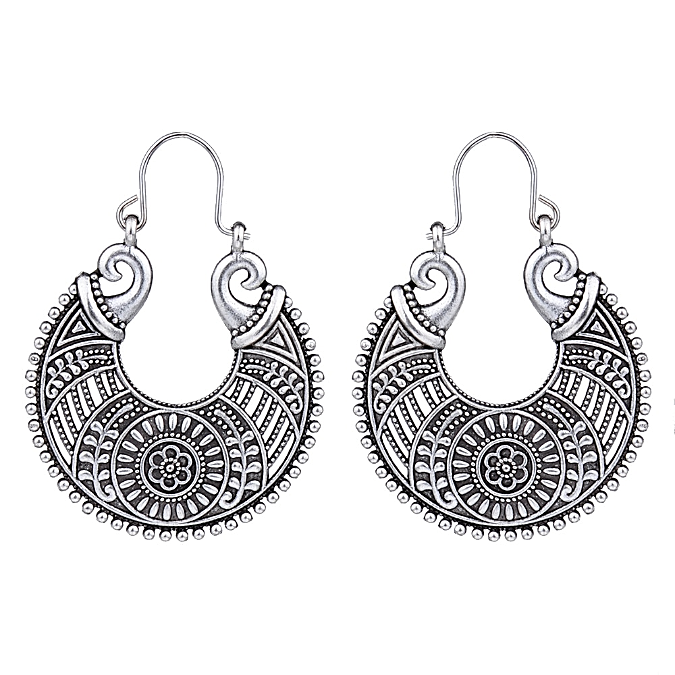 Primary image for Eastern Loop Drop Earrings Antique Silver NEW