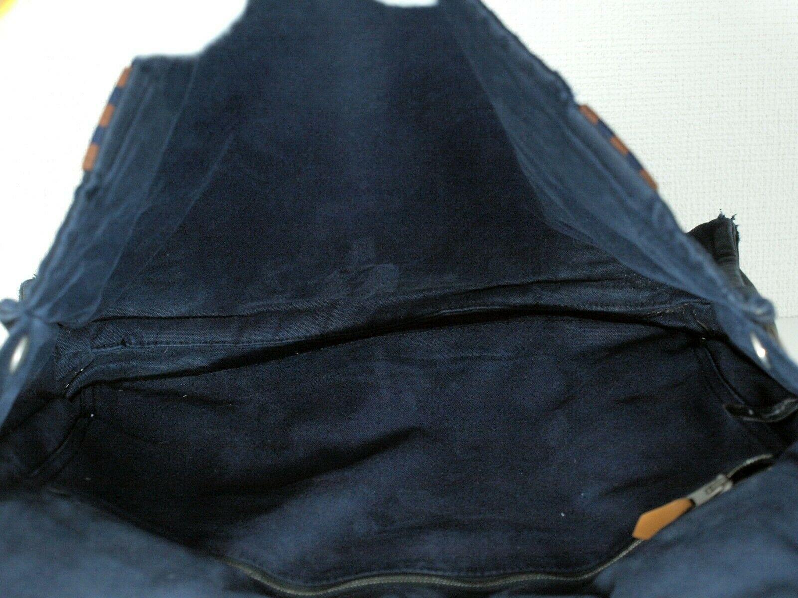 Auth Hermes Fool Toe Vassus MM Navy Cotton Canvas Shoulder Bag Purse France Used image 8