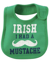 Irish I Had A Mustache St. Patrick's Day Bib CARTER's Baby One Size NWT - $5.18