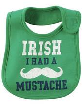 Irish I Had A Mustache St. Patrick's Day Bib CARTER's Baby One Size NWT - $5.18