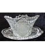Glass Mayo or Jelly Bowl with Underplate Vintage Pressed Glass / Etched  - $23.99