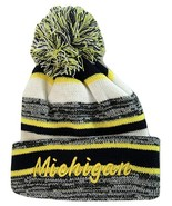 Michigan 4-Color Embroidered Adult Size Winter Knit Pom Beanie Hat (Gold... - $13.98
