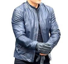 Mens Ethan Hunt Mission Impossible Fallout Tom Cruise Blue Biker Leather Jacket image 1