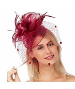 Women Kentucky Derby Party Wedding Cocktail Hair Clip Feather Mesh Flowe... - $56.11