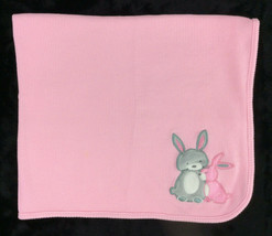Just Born Baby Blanket Waffle Weave Thermal Bunny Rabbit Grey - $23.83