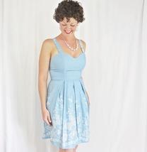 Carolina Blue Sun Dress, Floral Embroidery Print, Sweetheart Neckline, Womens