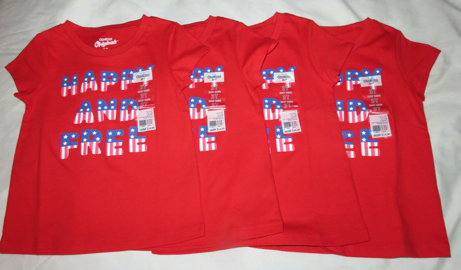 Primary image for Lot of 4 OSHKOSH B'Gosh Happy And Free American Flag Red T-Shirt Size 3T NEW $14