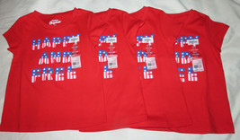 Lot of 4 OSHKOSH B'Gosh Happy And Free American Flag Red T-Shirt Size 3T... - $17.82
