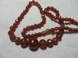 Art Deco 30's Graduated Faceted Cognac Brown Honey Amber Beaded Necklace... - $79.99