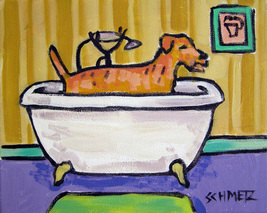 animal Art oil painting printed on canvas home decor terrier bather  - $14.99+