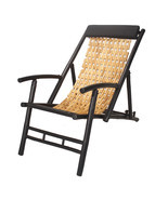 Black and Natural Bamboo Folding Sling Chair with Head Cushion - £129.05 GBP