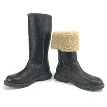 UGG Boots 5 Womens Brown Black Tall Leather Sheepskin Lined Convertible New - $149.58