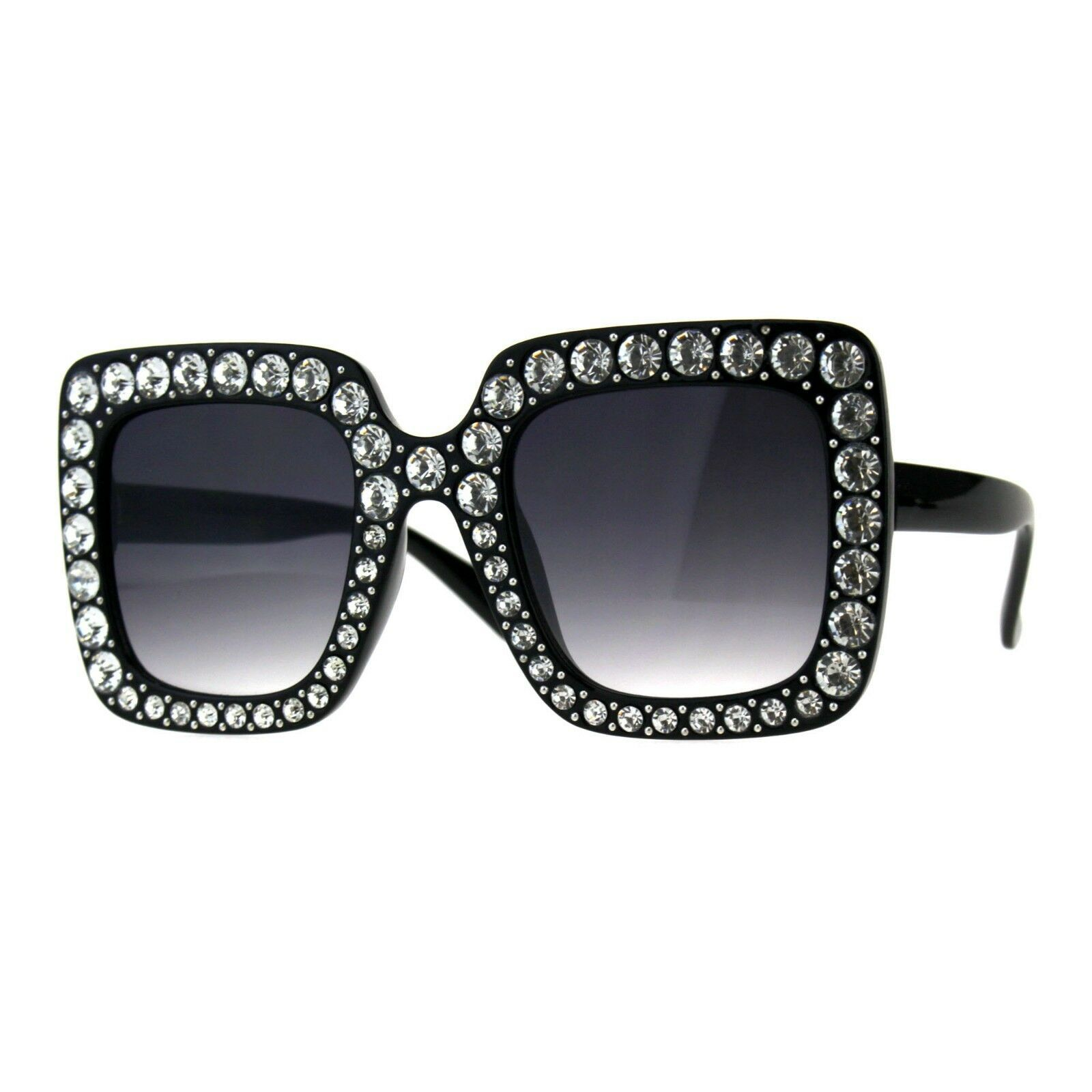 Bling Bling Rhinestone Sunglasses Oversized Square Womens Fashion