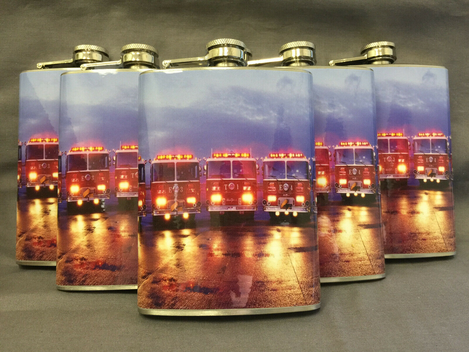 Set of 6 Firefighter Engines D3 Flasks 8oz Stainless Steel Hip Drinking Whiskey